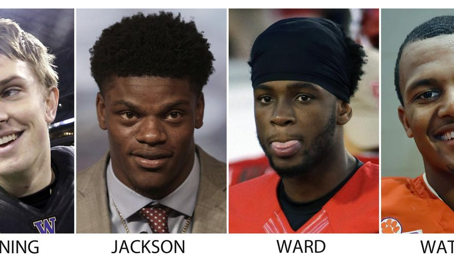 FILE - From left are file photos showing Washington quarterback Jake Browning, in 2015; Louisville quarterback Lamar Jackson, in 2016; Houston quarterback Greg Ward Jr., in 2015 and Clemson quarterback Deshaun Watson, in 2015. The challenge for Lamar Jackson as he chases the Heisman Trophy is to maintain front-runner status while playing games that will not be drawing a lot of attention. Browning, Ward and Watson are also on the Heisman watch list. (AP Photo/File)