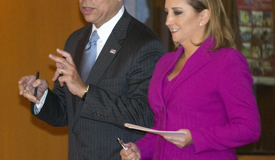 "U.S. Homeland Security Secretary Jeh Johnson, left, talks to Mexico's Foreign Affairs Minister Claudia Ruiz Massieu, in Mexico City, Tuesday, Oct. 11, 2016.  Johnson said during his visit to Mexico City, some flights to Haiti have been suspended due to Hurricane Matthew. He said Tuesday that U.S. officials will have to ""be sympathetic to the plight of the people of Haiti as a result."" But after conditions change, ""we intend to resume the policy."" (AP Photo/Eduardo Verdugo) (AP Photo/Eduardo Verdugo)"