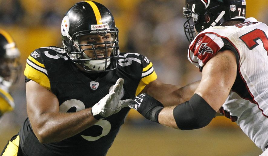 FILE - In this Aug. 27, 2011, file photo, Pittsburgh Steelers defensive end Cameron Heyward (95) plays in a preseason NFL football game against the Atlanta Falcons, in Pittsburgh. Cam Heyward's ironman streak is over. Coach Mike Tomlin said Tuesday, Oct. 11, 2016, that Heyward's left hamstring injury will keep him out of the lineup on Sunday when the Steelers travel to Miami to take on the Dolphins. He had played in 85 straight games since the Steelers took him in the first round of the 2011 draft. (AP Photo/Keith Srakocic, File)