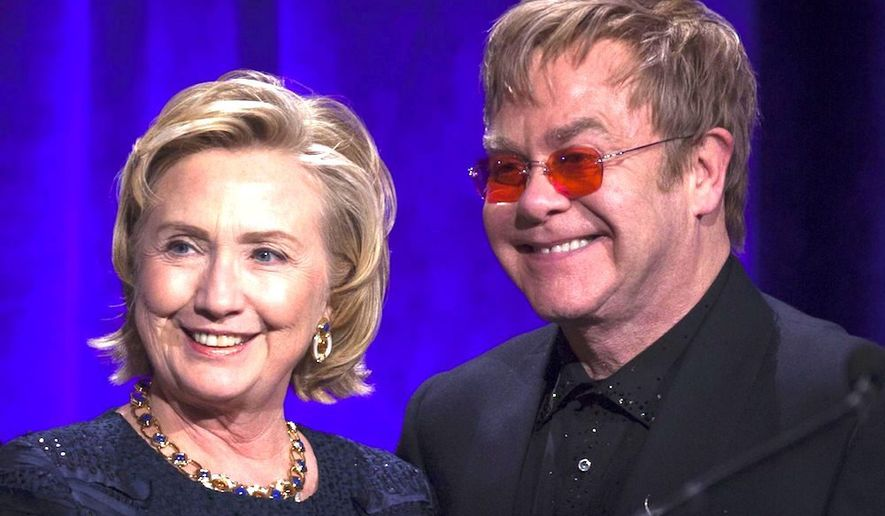 British singer Elton John has been fundraising for Hillary Clinton since the 2008 election, and will do so Thursday at a Hollywood event. (Associated Press)