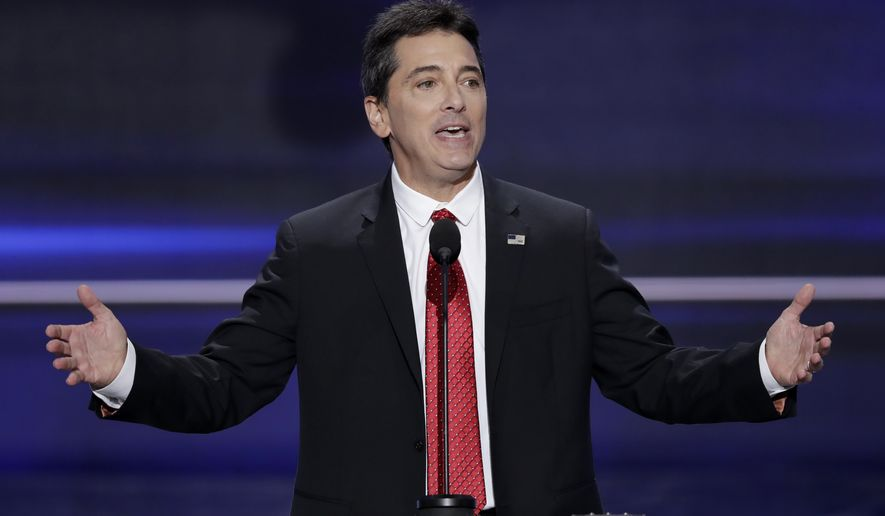 Actor Scott Baio speaks during the opening day of the Republican National Convention in Cleveland, Monday, July 18, 2016. (AP Photo/J. Scott Applewhite)
