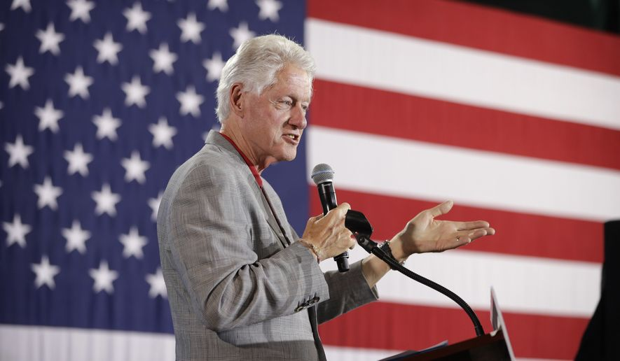 In this Sept. 14, 2016, file photo, former President Bill Clinton speaks while campaigning for his wife, Democratic presidential candidate Hillary Clinton in North Las Vegas, Nev. (AP Photo/John Locher, File)