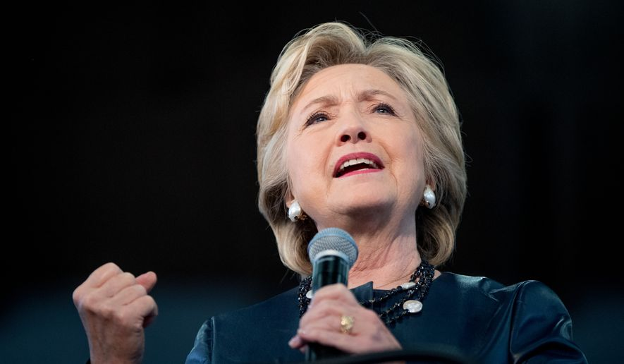 Democratic presidential candidate Hillary Clinton speaks at a rally at the Colorado State Fairgrounds in Pueblo, Colo., Wednesday, Oct. 12, 2016. (AP Photo/Andrew Harnik)