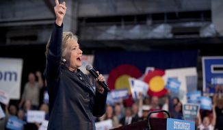 Democratic presidential candidate Hillary Clinton speaks at a rally at the Colorado State Fairgrounds in Pueblo, Colo., Wednesday, Oct. 12, 2016, to attend a rally. (AP Photo/Andrew Harnik)