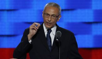 "In this July 25, 2016, file photo, John Podesta, Clinton Campaign Chairman, speaks during the first day of the Democratic National Convention in Philadelphia. Podesta, a top adviser to Hillary Clinton, on Tuesday, Oct. 11, accused Roger Stone, a longtime Donald Trump aide, of receiving ""advance warning"" about WikiLeaks' plans to publish thousands of hacked emails and suggested the Republican candidate is aiding the unprecedented Russian interference in American politics. (AP Photo/J. Scott Applewhite, File)"