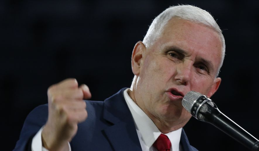 Republican Vice Presidential candidate, Indiana Gov. Mike Pence gestures as he speaks at Liberty University in Lynchburg, Va., Wednesday, Oct. 12, 2016. (AP Photo/Steve Helber) ** FILE **