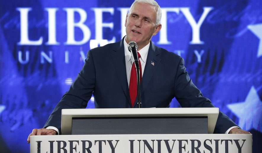In this file photo, then-Republican vice-presidential nominee, Indiana Gov. Mike Pence, speaks at Liberty University in Lynchburg, Va., Wednesday, Oct. 12, 2016. Mr. Pence was announced on March 1, 2019, as the commencement speaker for the school's May 11 graduation ceremonies. (AP Photo/Steve Helber) **FILE**