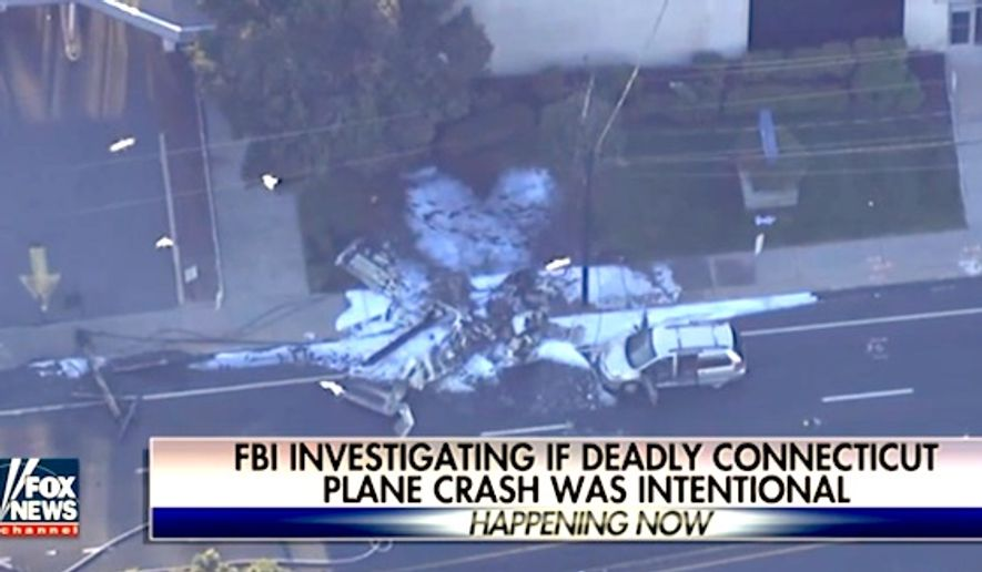 The FBI is investigating a plane crash in East Hartford, Connecticut on Tuesday, Oct. 11, 2016, that may have been intentional. (Fox News screenshot)