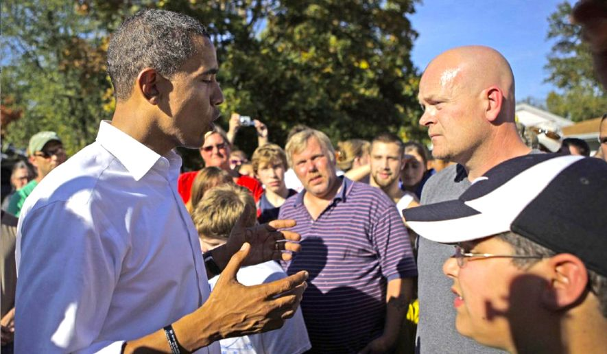 "Samuel Joseph Wurzelbacher - ""Joe the plumber"" - confronts then-presidential hopeful Barack Obama on the campaign trail in Ohio in 2008. The moment was caught on video and instantly appealed to many conservative viewers. (Jae C. Hong/AP Photo)"