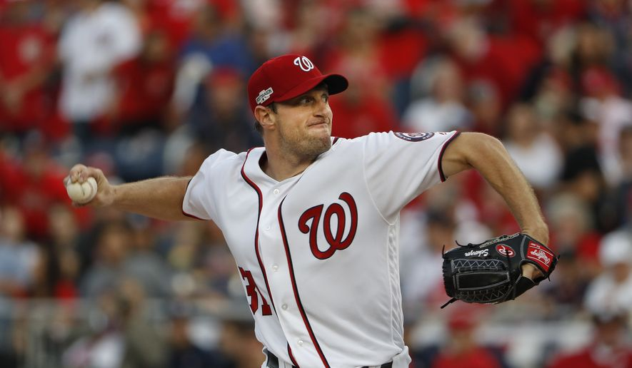 FILE - In this Oct. 7, 2016, file photo, Washington Nationals starting pitcher Max Scherzer works against the Los Angeles Dodgers during the first inning in Game 1 of baseball's National League Division Series at Nationals Park  in Washington.  (AP Photo/Pablo Martinez Monsivais, File) **FILE**