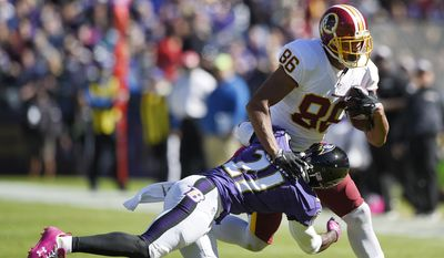 In this photo taken Oct. 9, 2016, Washington Redskins' tight end Jordan Reed (86) tries to get past Baltimore Ravens' Lardarius Webb (21) during the first half of an NFL football game in Baltimore. Reed is being evaluated for a concussion, coach Jay Gruden says. Gruden says Reed reported symptoms Tuesday, Oct. 11, 2016, and was in the process of being checked out. Reed did not practice Wednesday. (AP Photo/Nick Wass)