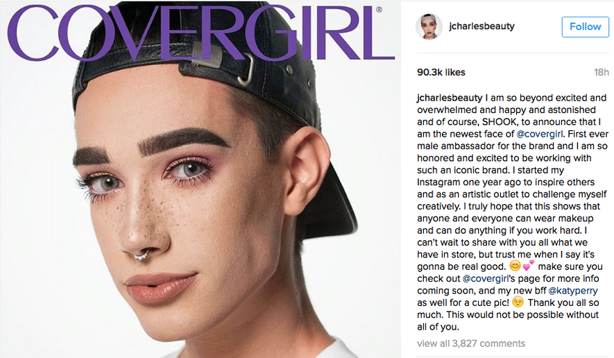 Screen capture from James Charles' Instagram post announcing his historic deal with CoverGirl. Mr. Charles becomes the first male spokesmodel to represent the makeup line.
