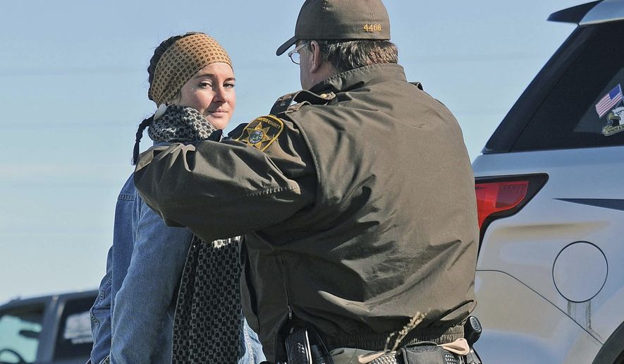 The heightened lawlessness culminated Monday with the arrests of 27 activists, including actress Shailene Woodley, on charges of criminal trespass and rioting as the hundreds swarmed a private construction site near St. Anthony, North Dakota. (Associated Press)
