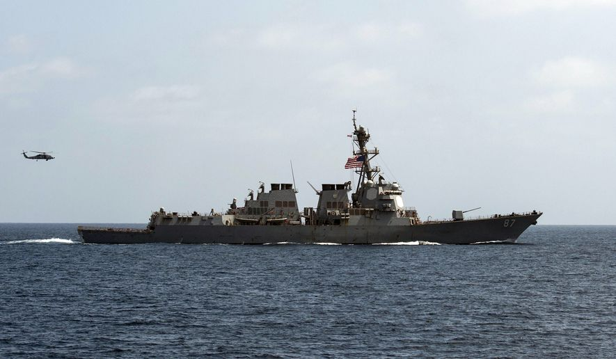 For the second time this week, two missiles were fired at the USS Mason in the Red Sea, and officials believe they were launched by the same Yemen-based Houthi rebels involved in the earlier attack, a U.S. military official said Wednesday. (U.S. Navy via Associated Press)