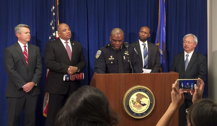 San Francisco interim police chief Toney Chaplin addresses the media in San Francisco, Wednesday, Oct. 12, 2016. Chaplin was discussing the results of a report released Wednesday by the U.S. Department of Justice that showed blacks are significantly more likely to be pulled over and have force used against them by San Francisco police than any other racial group. (AP Photo/Sudhin Thanawala)