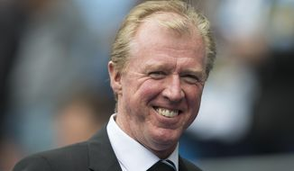 "FILE - In this Saturday, Oct. 3, 2015 file photo, Newcastle's manager Steve McClaren smiles as he takes to the touchline before the English Premier League soccer match between Manchester City and Newcastle at the Etihad Stadium, Manchester, England.  Former England coach Steve McClaren is back as manager of Derby County, 17 months after being fired by the club for failing to secure a return to the English Premier League. Derby announced the appointment on Wednesday, Oct. 12, 2016 with McClaren saying he was ""delighted at the prospect of finishing what we started."" (AP Photo/Jon Super, File)"