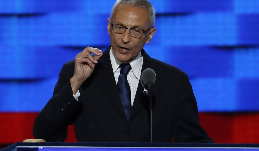 In this July 25, 2016, file photo, John Podesta, Clinton Campaign Chairman, speaks during the first day of the Democratic National Convention in Philadelphia. (AP Photo/J. Scott Applewhite, File)