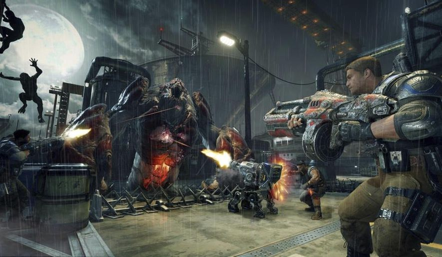 "This image released by Microsoft shows a scene from the video game, ""Gears of War 4."" (Microsoft via AP)"