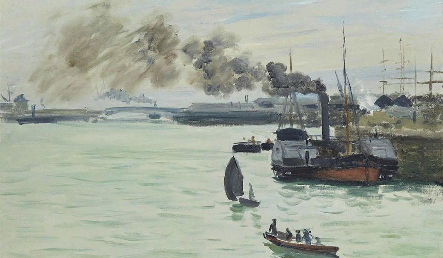 """In this photo provided Oct. 11, 2016 by the Kimbell Art Museum, a painting by Claude Monet titled """"View of a Port"""" from 1871 is shown. The painting is on public exhibit for the first time as part of the exhibit titled  """"Monet: The Early Years"""".  The installation features about 60 paintings and opens this Sunday at the Kimbell in Fort Worth, Texas.  (Kimbell Art Museum via AP)"""