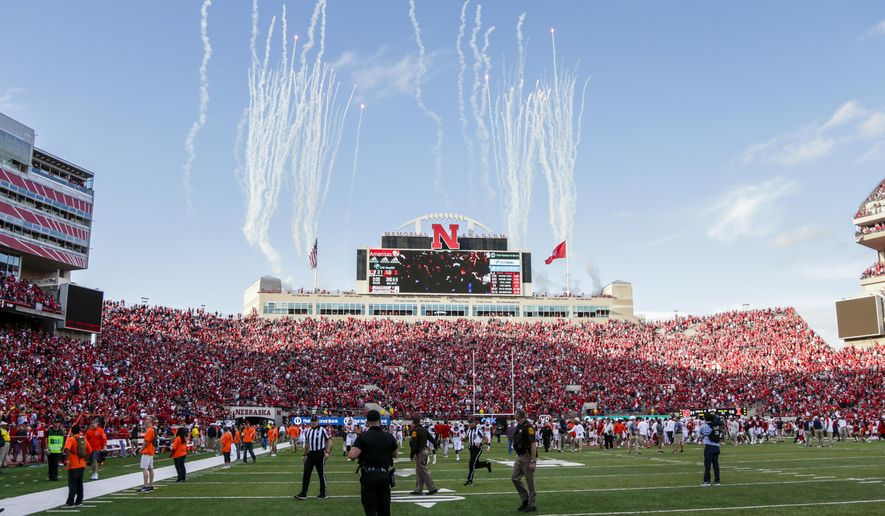 In this Oct. 1, 2016 photo, fireworks shoot up at Memorial Stadium following an NCAA college football game in which Nebraska defeated Illinois 31-16. Nebraska, which will be trying for its first 6-0 start since 2001 when it visits Indiana on Saturday, has outscored its first five opponents 78-6 over the last 15 minutes of games. The 72-point margin is the widest in the FBS. (AP Photo/Nati Harnik)