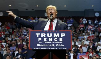 Republican presidential candidate Donald Trump speaks during a campaign rally, Thursday, Oct. 13, 2016, in Cincinnati, Ohio. (AP Photo/ Evan Vucci) ** FILE **