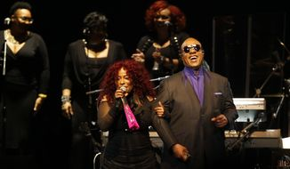 Stevie Wonder and Chaka Khan perform during a tribute concert Thursday, Oct. 13, 20016 in St. Paul, Minn., honoring the late musician Prince who died in April.(AP Photo/Jim Mone)