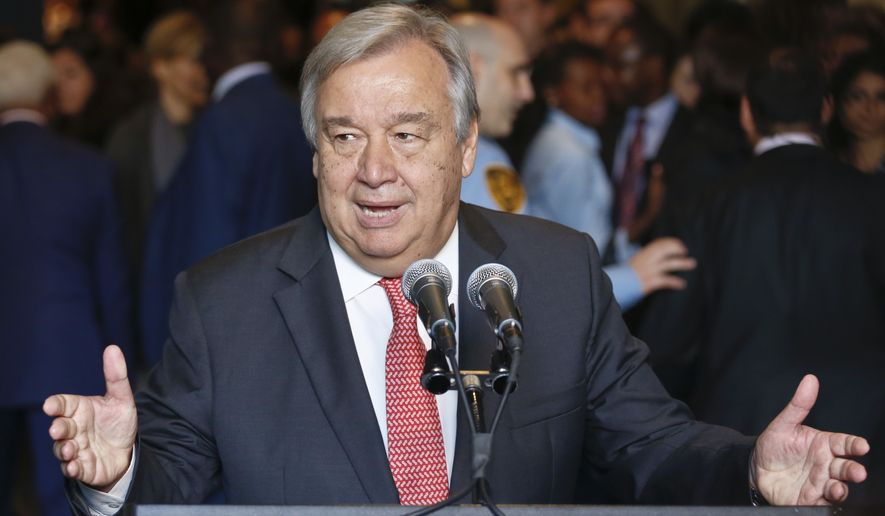 U.N. Secretary-General-designate, Antonio Guterres, right, speaks during his first news conference after a meeting of the U.N. General Assembly confirming his appointment, Thursday, Oct. 13, 2016 at U.N. headquarters. (AP Photo/Bebeto Matthews)