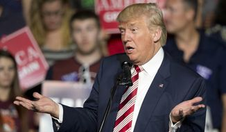In this Sept. 24, 2016, file photo, Republican presidential candidate Donald Trump gestures during a rally in Roanoke, Va. (AP Photo/Steve Helber, File)