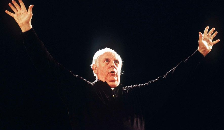 FILE - This undated file photo shows Italian playwright and actor Dario Fo on the stage in a theater in Milan, Italy. According to ANSA news agency Fo died on Thursday, Oct. 13, 2016 in Milan at the age of 90. (AP Photo/Massimo Rana, file)
