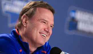FILE - In this March 18, 2016, file photo, Kansas coach Bill Self speaks during a news conference ahead of a second-round men's college basketball game in the NCAA Tournament in Des Moines, Iowa. The Jayhawks have rattled off a dozen conference championships in a row, and Big 12 coaches unanimously chose them to add another to the streak on Thursday, Oct 13, 2016. (AP Photo/Nati Harnik, File)
