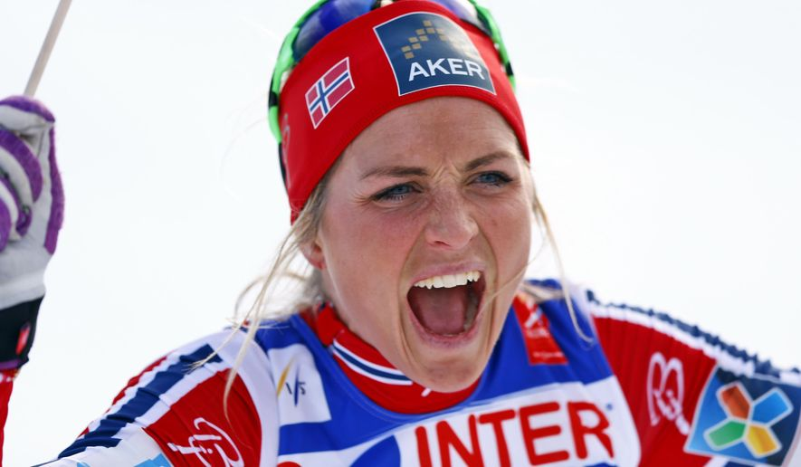 FILE - In this Feb. 28, 2015 file photo Norway's Therese Johaug celebrates her victory at the women's 30 kms mass start event at the Nordic Skiing World Championships in Falun, Sweden. The Norwegian ski federation said Thursday, Oct. 13, 2016 three-time Olympic cross-country medalist Therese Johaug has tested positive for a banned substance contained in a sun screen. (AP Photo/Matthias Schrader)
