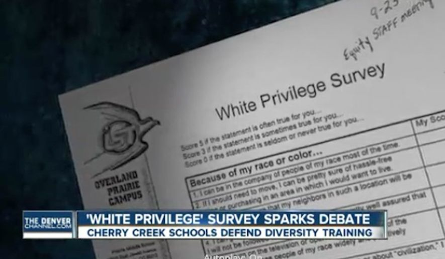 The Cherry Creek School District in Colorado is defending a survey given to staff during diversity training sessions that asks employees to identify their white privilege. (Denver 7 News)