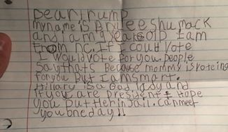 Donald Trump's eldest son on Friday published a letter from a 9-year-old girl who wants to see Democratic presidential nominee Hillary Clinton behind bars. (Instagram/@donaldjtrumpjr)