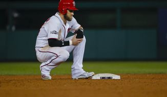 Washington Nationals' Bryce Harper waits at second base during a pitching change in the ninth inning of Game 5 against the Los Angeles Dodgers in a baseball National League Division Series, at Nationals Park, early Friday, Oct. 14, 2016, in Washington. The Dodgers won 4-3. (AP Photo/Pablo Martinez Monsivais)