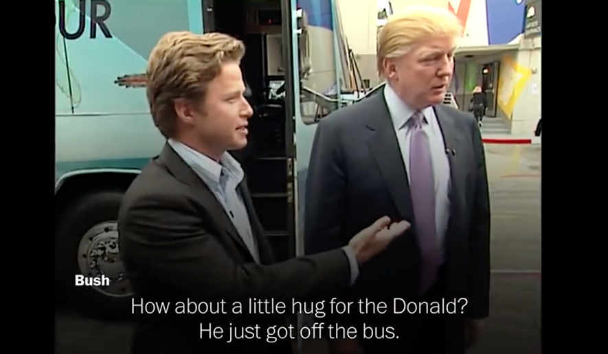 "Billy Bush and Donald Trump in 2005. Screen capture from ""Access Hollywood"" videotape, via YouTube. [https://www.youtube.com/watch?v=FuHPRYkMEwI]"