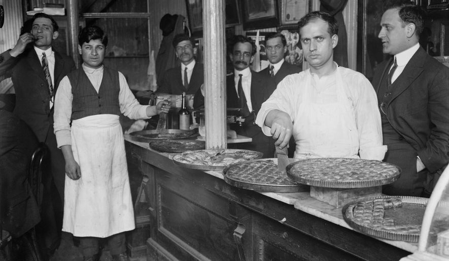 This 1910 photo shows a Syrian pastry counter in the Little Syria neighborhood of Lower Manhattan in New York. Little Syria was a neighborhood that existed between the 1880s and 1940s in Lower Manhattan and was composed of Arab-Americans, both Christians and Muslims, who arrived from what is now Syria and surrounding countries. (Bain News Service/Library of Congress via AP)