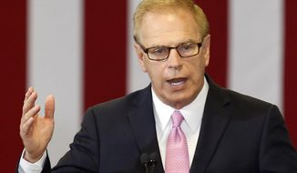 FILE – In this June 21, 2016, file photo, former Ohio Gov. Ted Strickland, the Democratic nominee for U.S. Senate in Ohio, speaks at a rally for Democratic presidential candidate Hillary Clinton at the Fort Hayes Metropolitan Education Center in Columbus, Ohio. Republican U.S. Sen. Rob Portman and the Democratic nominee challenging Portman's bid for re-election, former Ohio Gov. Ted Strickland, agreed to three debate, Friday, Oct. 14, 2016, in Youngstown, Ohio, Monday, Oct. 17, 2016, in Columbus, Ohio, and on Thursday, Oct. 20, 2016, in Cleveland. (AP Photo/Jay LaPrete, File)