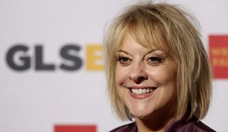 FILE - In this Friday, Oct. 21, 2011, file photo, television host Nancy Grace arrives at the 7th annual GLSEN Respect Awards in Beverly Hills, Calif. Grace signed off for the final time from her nightly HLN program after 12 years. (AP Photo/Matt Sayles, File)