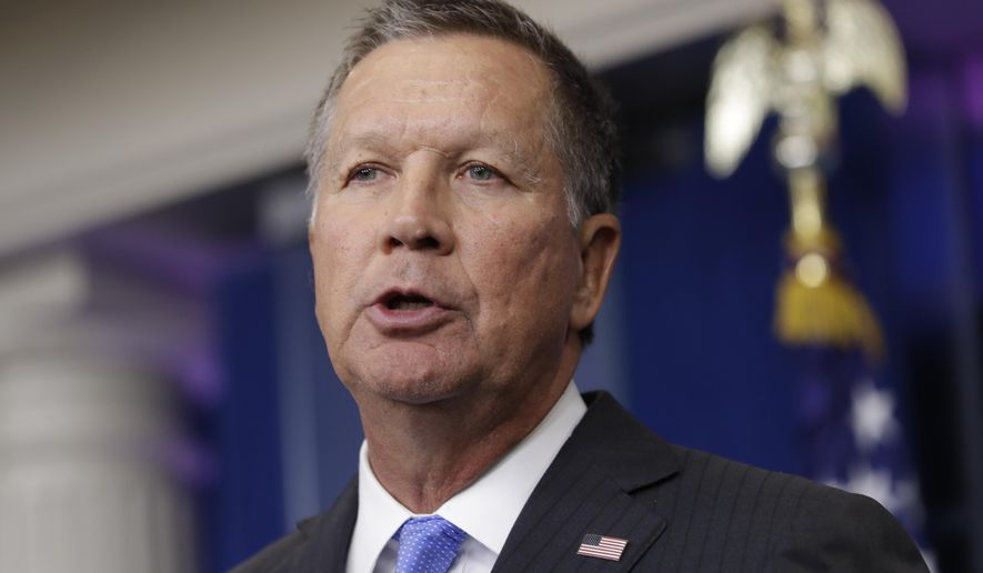In this Friday, Sept. 16, 2016, file photo, Ohio Gov. John Kasich speaks during the daily news briefing at the White House in Washington. (AP Photo/Carolyn Kaster, File)