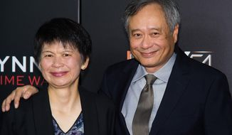"Jane Lin and Ang Lee attend the world premiere of ""Billy Lynn's Long Halftime Walk"", during the 54th New York Film Festival, at AMC Loews Lincoln Square on Friday, Oct. 14, 2016, in New York. (Photo by Charles Sykes/Invision/AP)"