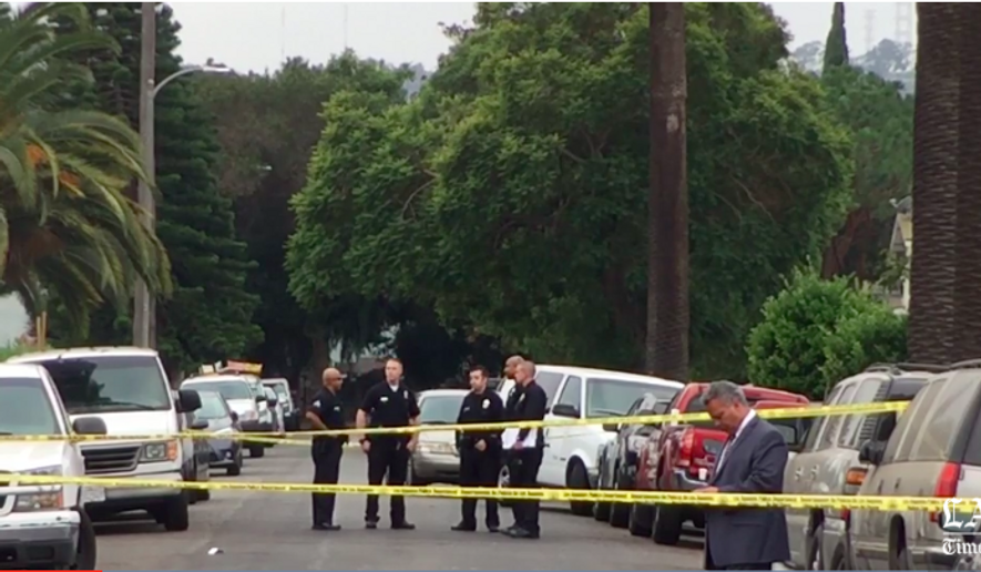 Screen capture from Los Angeles Times video about a fatal restaurant shooting the morning of Saturday, Oct. 15, 2016. [http://www.latimes.com/local/lanow/la-me-ln-shooting-southwest-la-20161015-snap-story.html]