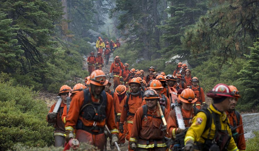 CORRECTS LOCATION OF FIRE SOUTH LAKE TAHOE, CALIFORNIA - Hand crews finish up work on the Emerald Fire along Highway 89, Friday, Oct. 14, 2016 on the southwest shores of Lake Tahoe. The blaze that burned about 200 acres northwest of South Lake Tahoe, California was one of three wind-whipped wildfires burning along the Sierra Nevada. The largest one destroyed more than 20 homes in a rural valley between Carson City and Reno, Nevada. (Randall Benton/The Sacramento Bee via AP)