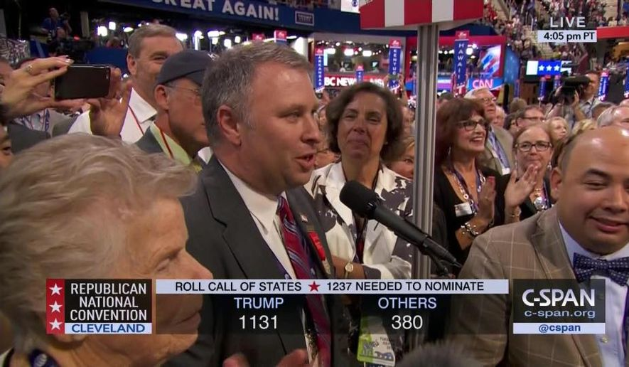 Matt Borges, Ohio GOP chairman, shown at the microphone in this photo from the 2016 Republican convention in Cleveland. Image via his Facebook profile.