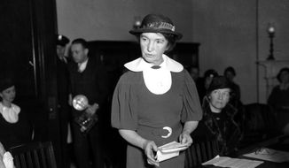 In this March 1, 1934 file photo, Margaret Sanger, who founded the American Birth Control League in 1921, speaks before a Senate committee to advocate for federal birth-control legislation in Washington. Sanger's legal appeals eventually prompted federal courts to grant physicians the right to give advice about birth-control methods. Sanger founded two organizations that later merged to form the Planned Parenthood Federation of America. (AP Photo)  **FILE**
