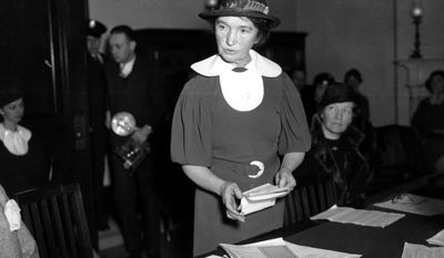 FILE - In this March 1, 1934 file photo, Margaret Sanger, who founded the American Birth Control League in 1921, speaks before a Senate committee to advocate for federal birth-control legislation in Washington. Sanger's legal appeals eventually prompted federal courts to grant physicians the right to give advice about birth-control methods. Sanger founded two organizations that later merged to form the Planned Parenthood Federation of America. (AP Photo)