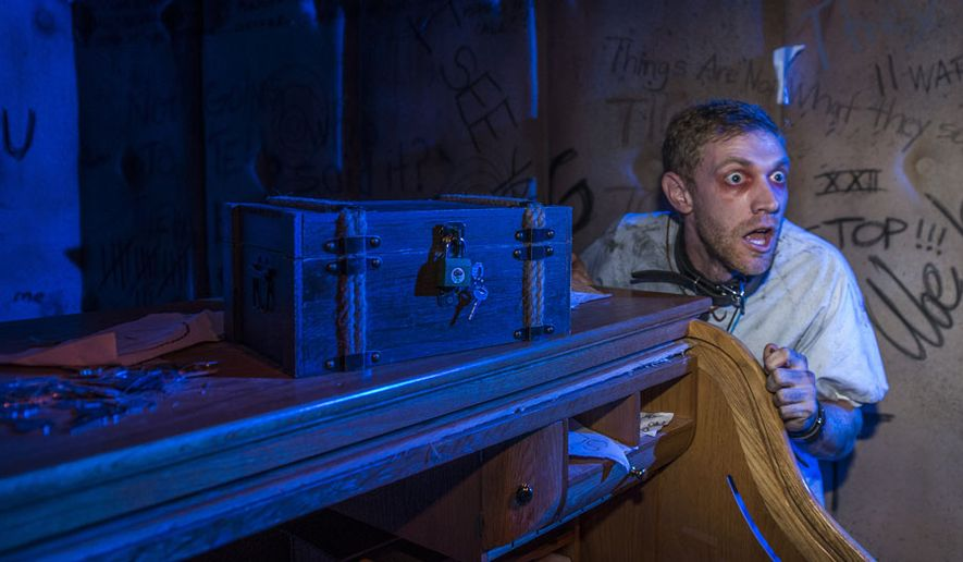 Members of the paranormal investigating organization Legendary Truth meet an insane Keymaster in Universal Orlando's Repository, an attraction special to this year's 'Halloween Horror Nights.'
