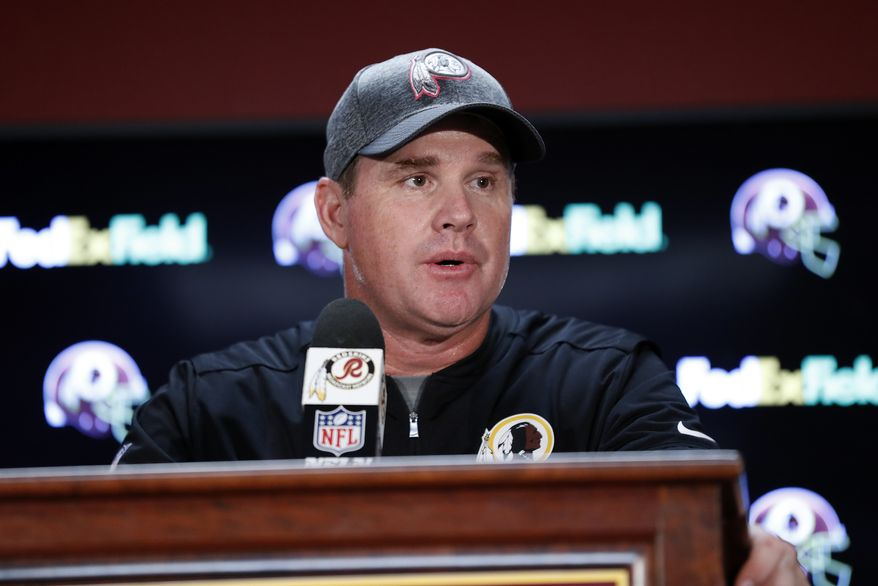 Washington Redskins head coach Jay Gruden speaks at a news conference after an NFL football game against the Philadelphia Eagles, Sunday, Oct. 16, 2016, in Landover, Md. (AP Photo/Alex Brandon)