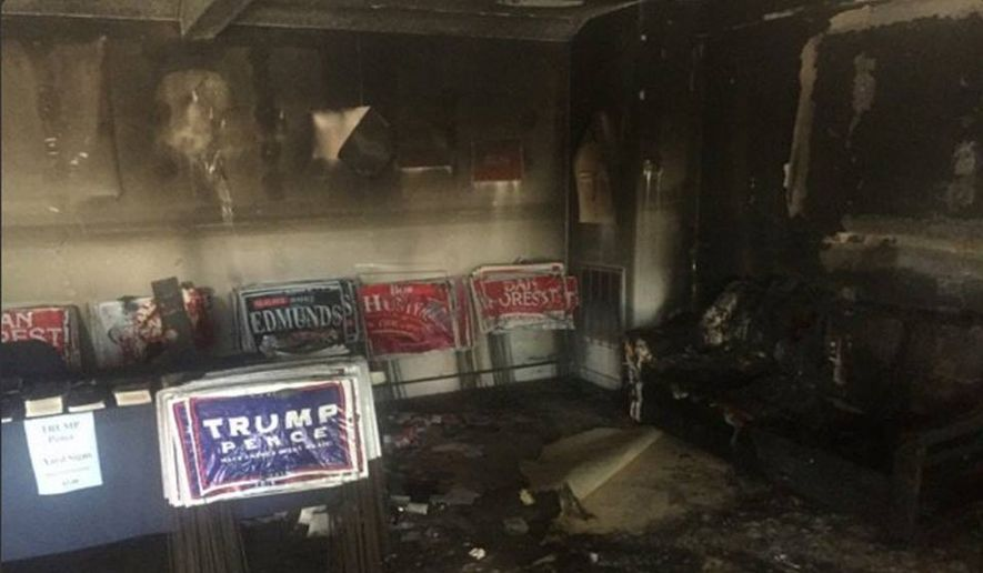 An explosive device was thrown through the window of the headquarters of the Orange County (N.C.) Republican Party late Saturday or early Sunday. (North Carolina Republican Party Facebook page)