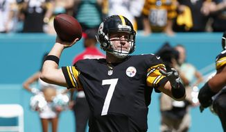 Pittsburgh Steelers quarterback Ben Roethlisberger (7) looks to pass, during the first half of an NFL football game against the Miami Dolphins, Sunday, Oct. 16, 2016, in Miami Gardens, Fla. (AP Photo/Wilfredo Lee)