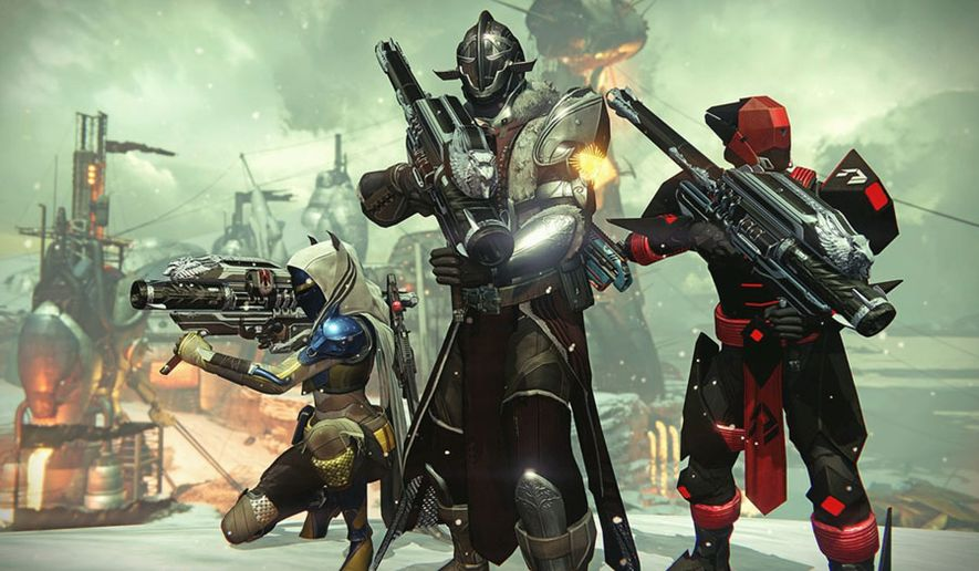 Guardians battle enemies aligned with the Darkness in the video game Destiny: The Collection.